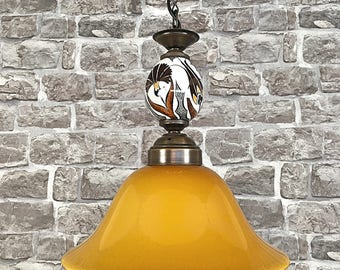 Octopus beach cottage pendant light faux taxidermy gold white