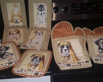 dog kitchen kitchen set of 8 pieces, 4 mug rugs, 2 oven mitts, 2 pot holders