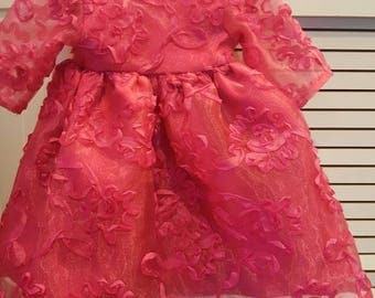 AMERICAN GIRL DOLL Dress Bright Pink with ribbon swirls, long sleeves gather waist