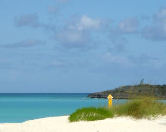 Yellow Umbrella - Vacation - Exuma Bahamas - Atlantic Ocean - West Indies - Beach - Instant Download