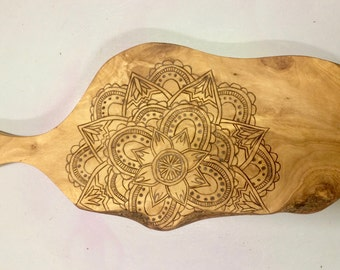 Wood Burned Mandala Cheese Board