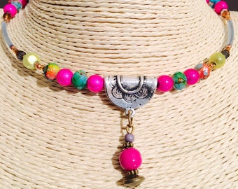 East Indian Style Bead with Charm Pendant Choker