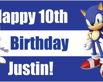 Custom Vinyl Sonic the Hedgehog Birthday Party Banner Decorations with Child's Name
