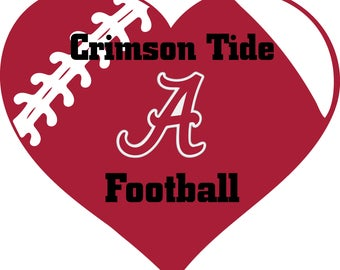 Alabama Crimson Tide Football Heart Monogram digital file for decal for car, window, yeti SVG PNG DXF and more!!