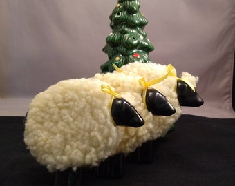 Ceramic and Fleece Wooly Sheep Hanging Ornaments