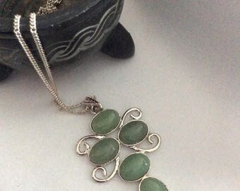 Semi precious  dragonfly stylised pendant