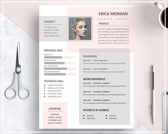 Pink Resume Template/ Pink CV Template/ Creative Resume Template Design/  Professional Resume Template  Resume Template Creative