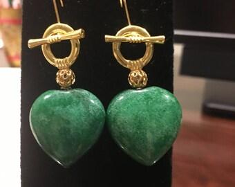 Heart Green Jade Earrings