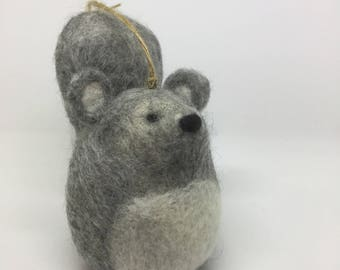 Grey Needle Felted Squirrel Hanging Decoration