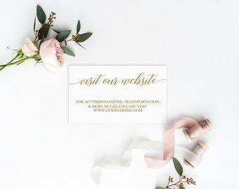 Wedding Website Card | Wedding Website Template | DIY Wedding Website Card | Printable Website Cards | Gold Wedding Website Inserts