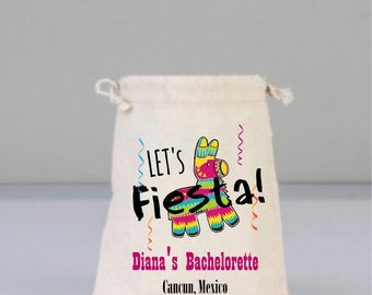 Bachelorette Party Bag, Drawstring Mini Favor Bags,  Wedding Party Favor, Mexican Pinata  Party Favors, Fiesta Party Favors