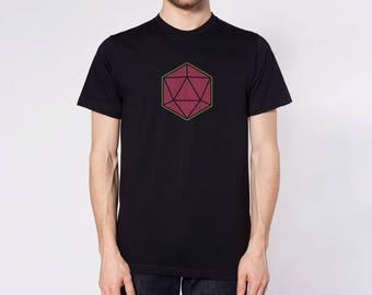 D20 Twenty-Sided Dice T-Shirt Dungeons & Dragons Pathfinder Roleplaying Fantasy Nerd Game RPG Design 100% Ringspun Cotton