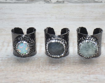 Boho Chic Pave Cz Encrusted Opal Druzy or Labradorite Hammered Gunmetal Cuff Adjustable Rings Cuff Rings