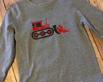 Tractor Heart Shirt, Dozer Heart, Valentine's Day Shirt, Valentine Shirt,