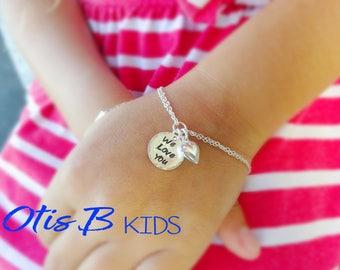 We Love You Gift, Sterling silver puffy heart bracelet, little girls bracelet, first day of school, flower girl jewelry, Otis B