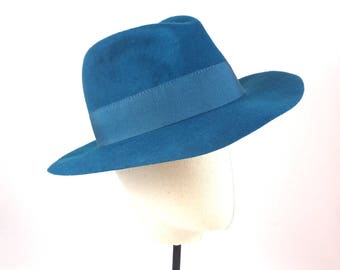 Peacock Blue Wool Women's Fedora Hat