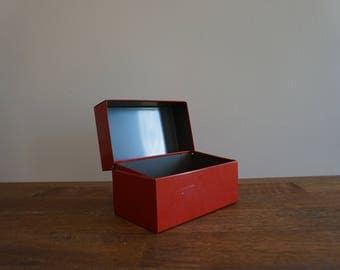 Vintage Metal Recipe Box Red Industrial Storage Box