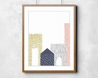 Modern City Wall Art Print, Instant Download, Instant Art, Printable Art, Scandi, Mid Century Decor, Modern Decor, Wall Print, Bold Print