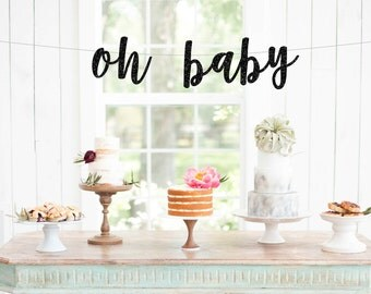 Oh Baby Banner, Baby Shower Banner, Baby Shower Sign, Baby Photo Prop, Gold Baby Shower, New Baby, Baby Sprinkle, Baby Shower Decor