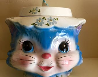 Vintage Lefton Little Miss Priss Cat Cookie Jar 1950's