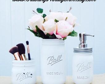 Mason Jar bathroom set, rustic bathroom decor, Mason jar decor, bathroom storage,white, shabby chic decor, farmhouse decor,Mason jars,
