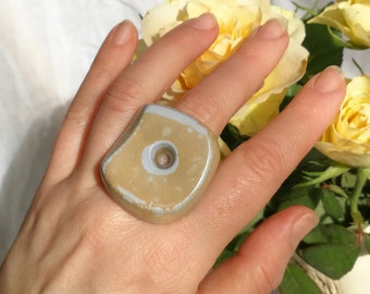 Porcelain Ring, Ceramic Ring, Handmade Porcelain, Ceramic Jewelry, Unique Ring, White Porcelain