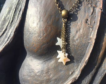 bronze Choker necklace collection star mother of Pearl