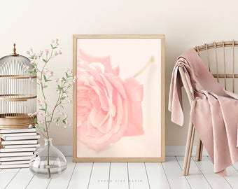 ROSE WALL PRINT, Blush Pink Rose Fine Art Photography, Romantic Pastel Picture, Shabby Chic, Gift for Woman, digital download