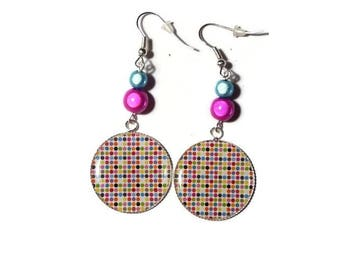 Multicolor/gift/birthday dots cabochon earrings