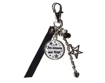 """Keychain - nanny/BABYSITTER gift bag charm """"a nanny on top / personalized"""""""