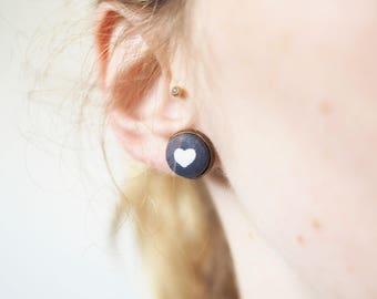 Grey heart Stud Earrings made of fabric