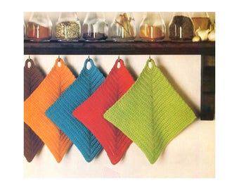 Dishcloths Crochet Pattern - diagonal design with loop for hanging