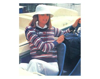 Casual Knit Pullover - Sweater Knitting Pattern in stripes of variegated yarn