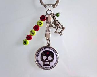 """Keychain """"Dia de los Muertos"""" with name"""