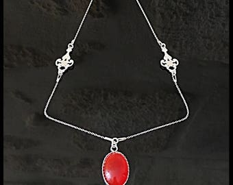 Necklace silver Sterling and mystical Bohemian carnelian gemstone.