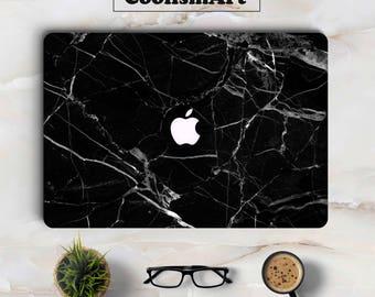 Black Marble Grain Macbook Skin Laptop Sticker for Apple Macbook Decal Air Retina Pro 11 12 13 15 inch Mac Notebook Full Cover Case Skin