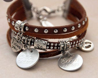 "Bracelet personalized with names ""Basic"" Caramel"