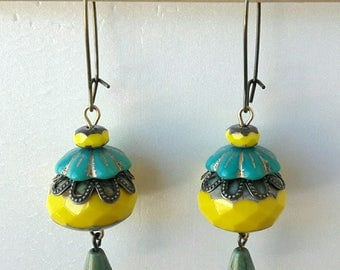 Earrings Bohemian blue and yellow floral