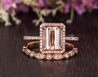 Emerald Cut Morganite Ring Engagement Ring Rose Gold Diamond Halo Antique Half Eternity Woman Art Deco Wedding Band Promise Bridal Set 2pcs