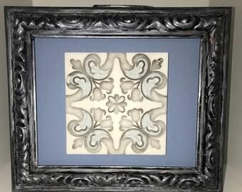 Framed Tile: Blue tile with Ornate Frame