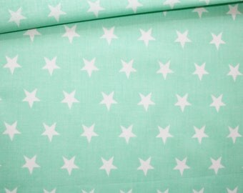 Fabric star, 100% cotton 50 x 160 cm, motif star white on Mint green background