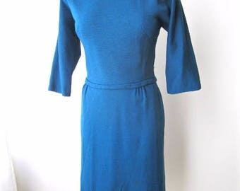 M 50s 60s Cocktail Party Dress Teal Blue Winter Wool Knit Office Holiday Wiggle Sexy Marilyn Medium FLAWED TLC Theatrical Costume