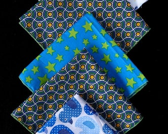 "SET of 5 handkerchiefs in fabric ""graphics, circles, stars... """