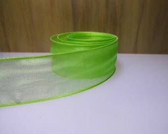 Ribbon 25mm Green organza-(rsve325d)