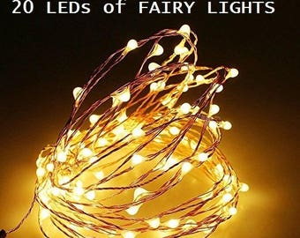 20 Pack of 20 LEDs Fairy Lights, Wedding Decorations lights, LED Mason Jar light Wedding Decor, firefly Lights, Copper fairy lights