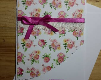 Floral and delicate, feminine birthday card to wish
