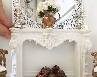 miniatur verzierten kamin kaminsims mastab franzsisch stil puppenhaus diorama - Mantel Der Ideen Mit Uhr Verziert