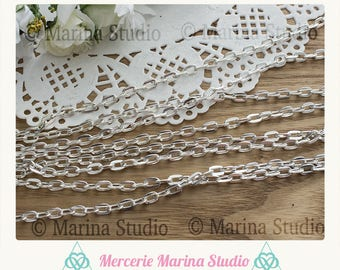 4 m silver plated 7x4mm trace silver mesh chain