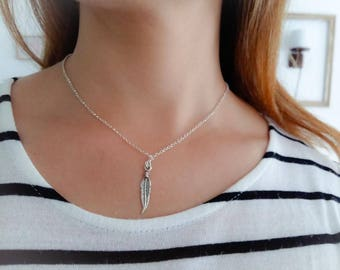 Feather necklace with pendant 925 sterling silver. Unique sterling silver jewelry. Necklace, timeless chic. Gift idea for woman