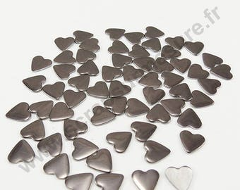 Fusible heart - grey - 8mm - x 50pcs